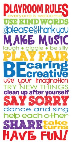 15x30 Playroom Rules Canvas Wrap - Children's Room - Nursery Art - Primary Colors - Fun Wall Art