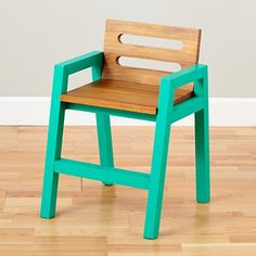 Two-Tone Teak Play Chair (Green) in Play Chairs   The Land of Nod
