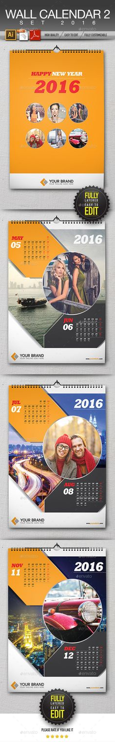 Wall Calendar 2016 Template #design Download: http://graphicriver.net/item/wall-calendar-2016/13069845?ref=ksioks