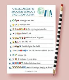 Children's Books Emoji Pictionary Baby Shower Game by ClinkPaper
