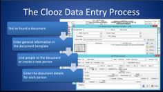 This image shows the basic process for entering genealogy documents into Clooz 3.3.  All research and analysis builds on the care with which the data is scrutinized and entered.