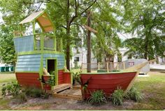 pirate ship playhouse, A Place Imagined Cubby Houses, Play Houses, Kids Play Area, Play Areas, Play Spaces, Build A Playhouse, Modern Playhouse, Outdoor Fun, Outdoor Decor
