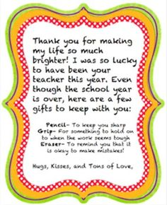 Perfect A Simple U0026 Sweet Goodbye Gift Letter To Give To Students (of Any Age
