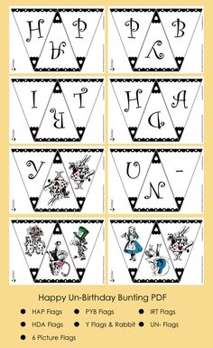 Mad Hatter Tea Party Ideas Happy Un-Birthday Bunting