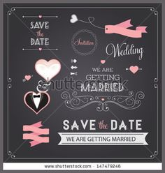 Chalkboard style wedding design and decorative elements, vintage banner, ribbon, labels, frames, badge, stickers Vector love element