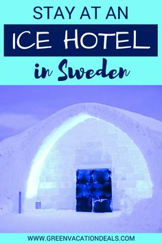 Ice Hotel Sweden Travel Tips - This ice hotel in Sweden is an amazing travel destination! Stay in a unique room made of snow & ice or even get married - it's a popular wedding destination! Click to find out how to get the best deals on this Sweden hotel. Ice Hotel Travel Ideas #Jukkasjärvi #Sweden #Arctic #traveltips #icehotel #travel #ice #Hotel #HotelDeal #northernlights #icebar #icechapel #VisitSweden #NorthernEurope #Scandinavia #Scandinavian