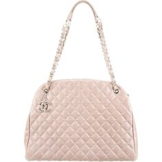 Pre-owned Chanel Just Mademoiselle Large Bowling Bag (27.600.845 IDR) ❤ liked on Polyvore featuring bags, handbags, grey, quilted handbags, pink leather purse, pink quilted purse, quilted leather handbags and genuine leather purse