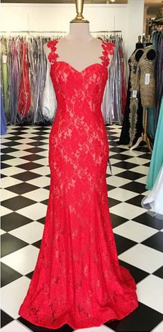 Red Prom Dresses 2017 Sleeveless Floor-length Mermaid Lace