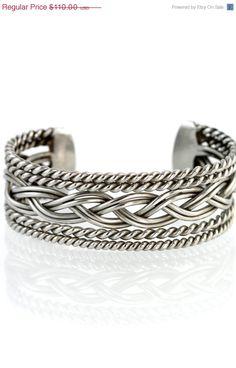 Southwestern Sterling Silver Wirework Cuff Bracelet
