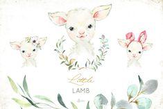 Little Lamb Little Watercolor Animals by OctopusArtis on Watercolor Logo, Wreath Watercolor, Watercolor Animals, Watercolor Ideas, Watercolor Painting, Diy Custom Stationery, Farm Animals, Cute Animals, Nursery Art