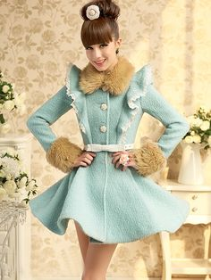 Morpheus Boutique  - Baby Blue Hair Collar Long Sleeve Ruffle Pleated Overcoat, $129.99 (http://www.morpheusboutique.com/products/baby-blue-hair-collar-long-sleeve-ruffle-pleated-overcoat.html)