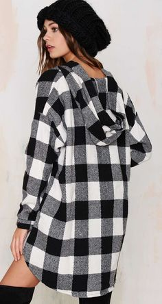 black + white flannel jacket