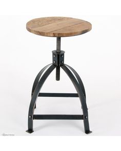 Vintage industrial crank barstool. Cranks between 43-70cm high. Weathered pine seat, fully welded together suitable for full commercial use