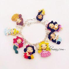 Handmade bracelet Disney Princess Inspired  polymer clay via Etsy