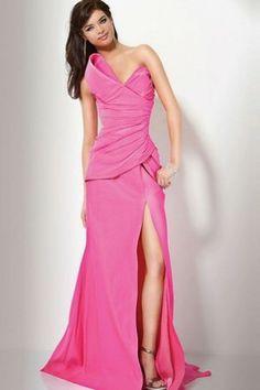 Floor Length Bow Sweep Train Thigh-High Sli Prom/ Evening Dress
