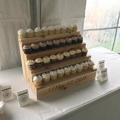 2 Cupcake Stand and cake stand Rustic Wooden Cupcake Fall Wedding Cupcakes, Floral Wedding Cakes, Cake Table, Dessert Table, Cake Trends, Rustic Cake, Hand Painted Signs, Plan Your Wedding, Custom Cakes
