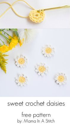 Sweet daisies – free flower crochet pattern such a fun and simple warm weather craft project this post also shows you how to make them into napkin rings freepattern crochet flowers Crochet Puff Flower, Crochet Daisy, Knit Flowers, Crochet Stars, Diy Crochet Flowers, Crochet Flower Tutorial, Crochet Leaves, Simple Crochet, Send Flowers