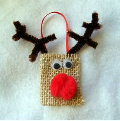 Burlap Reindeer Ornament...Loving burlap:))) this would be great for the kids.. thanks @Pamela Awad
