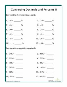 math worksheet : converting decimals to percents  decimal worksheets and learn  : Fractions And Percentages Worksheet