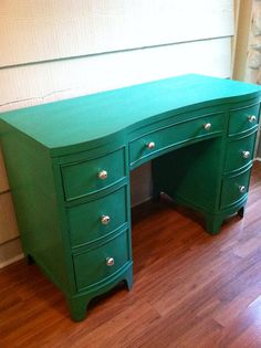 Vintage desk painted emerald green with silver by LynorByJessica, $299.00