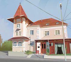 House Styles, Twitter, Vector Art, Sketch, Illustrations, Landscape, Sketch Drawing, Scenery, Illustration