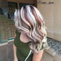 Lots of blonde highlights in brown hair.