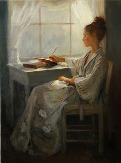 """Opalescence"", Oil on Belgian Linen by Lynn Sanguedolce, American Artist . Painting People, Woman Painting, Figure Painting, Painting & Drawing, Art And Illustration, Reading Art, Letter Art, Fine Art, American Artists"