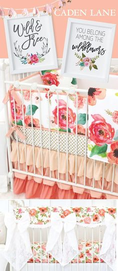 "Beautiful wall art for a nursery. Love the ""You belong among the wild flowers"" art work."