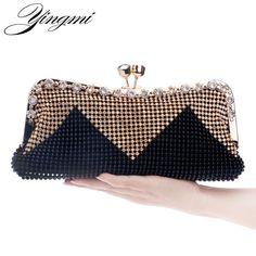 YINGMI Women Day Clutch Evening Bags Diamonds Beaded Soft Small Chain  Shouler Messenger Bag Crystal Wedding Handbags Review bfebc2a355eb
