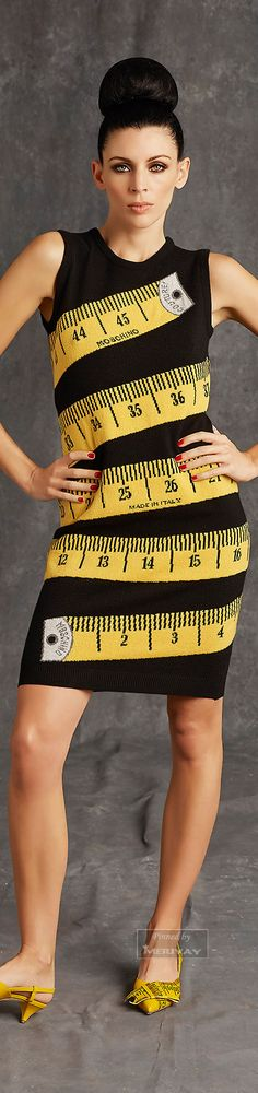 In love with Moschino fun tape measure dress, as long as it's not accurate! This is cute and comfy - would wear it to a museum day!  You?   Pre-Fall 2015.