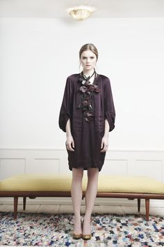 Rützou purple silk shirt dress