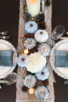 DIY Thanksgiving Tablescape with Blue Pumpkins {When God Changes Your Plans} Thanksgiving Tablescape with Blue Pumpkins: When God Interrupts Your PlansThanksgiving Tablescape with Blue Pumpkins: When God Interrupts Your Plans Thanksgiving Traditions, Thanksgiving Tablescapes, Thanksgiving Decorations, Seasonal Decor, Thanksgiving Ideas, Fall Decorations, Ouija, Home Renovation, Elegant Centerpieces