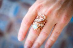 FREE SHIPPING JEWELRY Opalite stone ring. by Bellamagicaljewelry