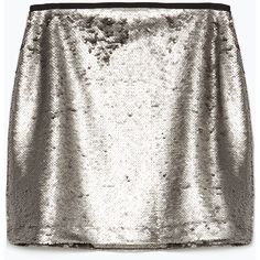 Zara Sequinned Miniskirt (765 RUB) ❤ liked on Polyvore featuring skirts, mini skirts, aged silver, short mini skirts, white mini skirt, mini skirt, white skirt and short skirts