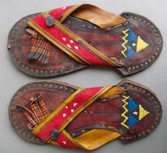 African Sandals with embroidery and tassels. Tuareg Sahara Vintage, 1960s.