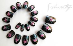 Salsa Dancer Nail Art  black seafoam green pink by saburkitty, $25.00  http://www.etsy.com/listing/86090593/salsa-dancer-nail-art-black-seafoam