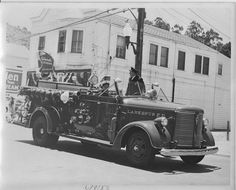 Larkspurs' 1947 American La France pumper shown driving down Magnolia St. in front of Gilardi Catering. Photo courtesy Larkspur Association of Volunteer Firefighters Historical Museum