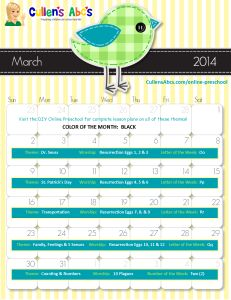 March 2014 Calendar | Use this calendar with your child or classroom and follow along with the lesson plans on these themes in the DIY Online Preschool. To help foster an excitement for learning be sure to print this out and hang it where children can see it and ask questions. Feel free to contact us at CullensAbcs@gmail.com with any questions.