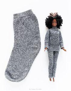 Sockscrafts socks pyjamas barbieclothesdiy gray doityourself diyandcrafts diy ideas recyclingideas by sanae errabiehow to make doll clothes from old socks Barbie Clothes Diy, Barbie Dolls Diy, Sewing Doll Clothes, Sewing Dolls, Barbie Dress, Doll Clothes Patterns, Crochet Clothes, Clothing Patterns, Diy Clothes