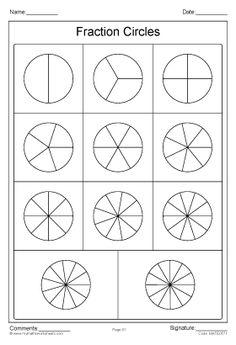 Fraction Circles Template worksheet part 1
