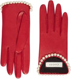 Leather gloves with pearls #ad