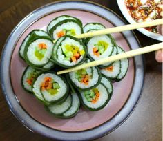 Appetisers, Korean Food, Zucchini, Sushi, Food And Drink, Cooking Recipes, Vegetables, Ethnic Recipes, Cool Things