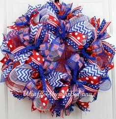 Deco Mesh Patriotic Wreath Patriotic by WruffleWreathsbyLana