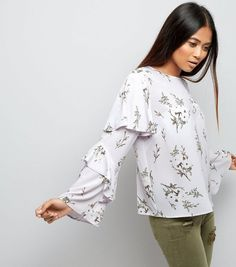 Petite White Floral Print Frill Trim Layered Sleeve Top | New Look
