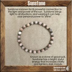 """Sunstone helps empower those who feel persecuted or abandoned by others, instilling confidence and optimism and encouraging motivation and positive action. Sunstone is also useful in removing energy draining ties or """"hooks"""" into your energy by other people. GOOD ENERGY: Sunstone Yoga Mala Bracelet"""