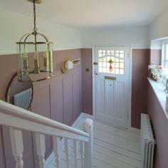 Hallway Wall Colors, Pink Hallway, Tiled Hallway, Front Hallway, Hallway Ideas Entrance Narrow, Modern Hallway, 1930s Hallway, Hallway Colour Schemes, Hallway Walls