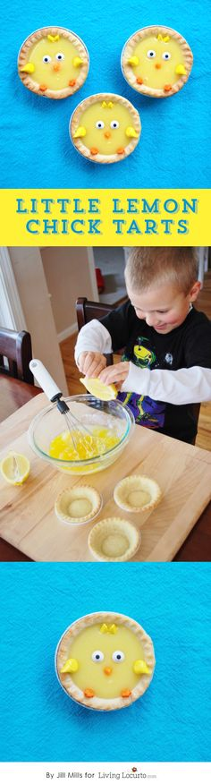 How to Make Little Chick Lemon Tarts. A Cute No Bake Recipe and Party Idea for Kids or for Easter! Vegetarian Meals For Kids, Kids Cooking Recipes, Healthy Meals For Kids, Cooking With Kids, Kids Meals, Kid Recipes, Whole30 Recipes, Vegetarian Recipes, Healthy Recipes