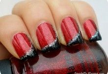 Red nails with black and silver
