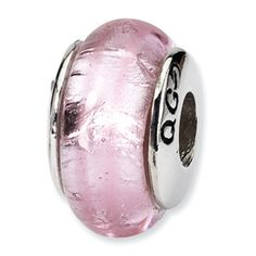 Reflection Beads Sterling Silver Pink Hand-blown Glass Bead