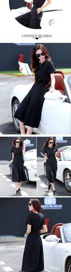 japanese street fashion japanese fashion magazine japan store korean style chinese fashion trendy : Round neck T-shirt fashion wide waist pants female twinset aesthetically pleasing